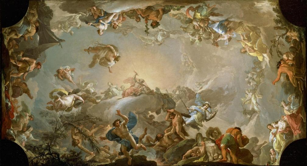Francisco Bayeu, El Olimpo: batalla con los gigantes (1764)