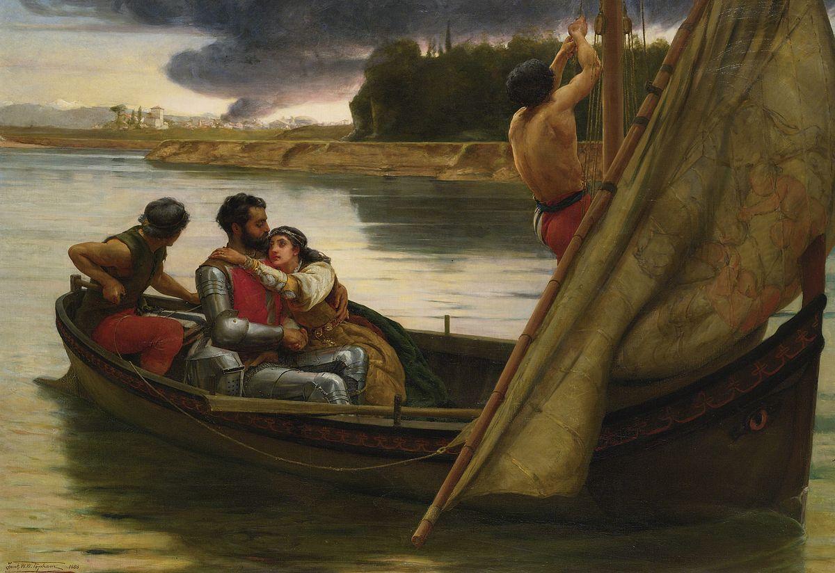 El viaje del Rey Arturo y Morgana La Fay a la isla de Avalon (1888), de Frank William Warwick