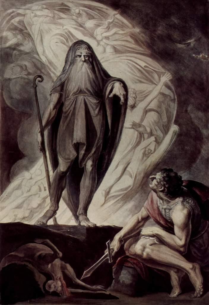 Tiresias aparece ante Ulíses durante un sacrificio (1785) de Henrich Füssili