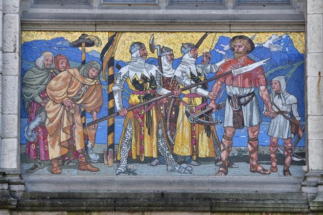 Mosaico de Guillermo Tell en el Museo Nacional de Suiza