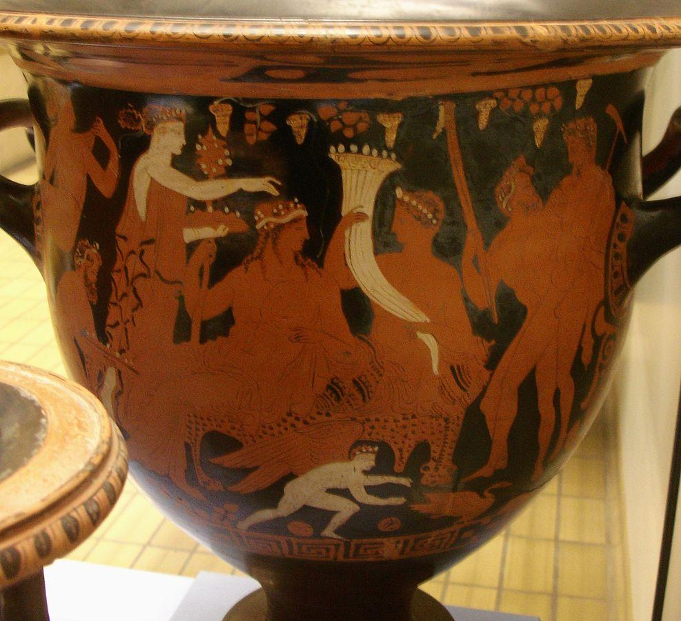 Plutón, en compañía de Dionisio, sostiene el cuerno de la abundancia