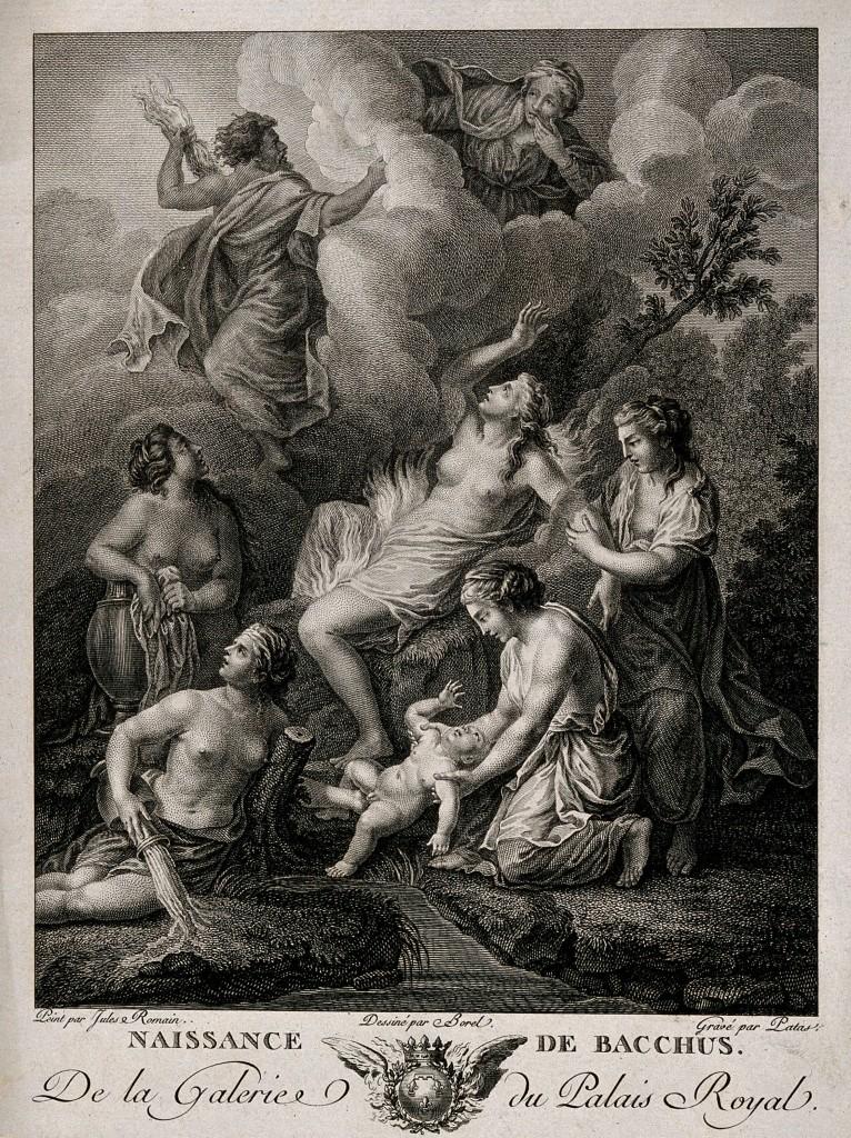 Grabado de Charles Emmanuel Patas representando el nacimiento de Baco (Dionisio) El oficio de lo sagrado #culturaquemadura