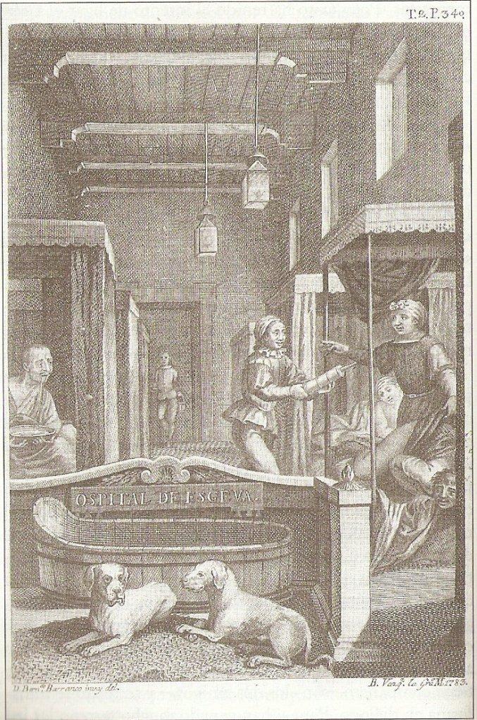 Cipión y Berganza en un grabado de Antonio de Sancha, 1783. 5 geniales perros de la literatura #culturaquemadura