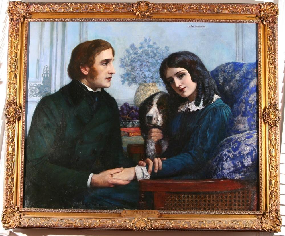 Robert Browning visita a Elizabeth Barrett en Wimpole Street #50, de Herbert Carmichael