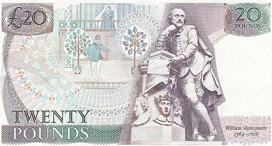 William Shakespeara 20 libras esterlinas 10 escritores en billetes #culturaquemadura
