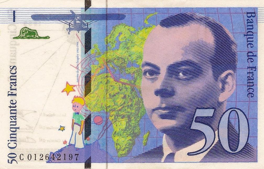 Antoine de Saint-Exupéry 50 francos 10 escritores en billetes #culturaquemadura