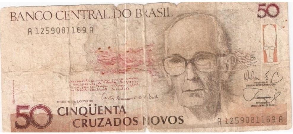 Carlos Drummond de Andrade 50 nuevos cruzados 10 escritores en billetes #culturaquemadura