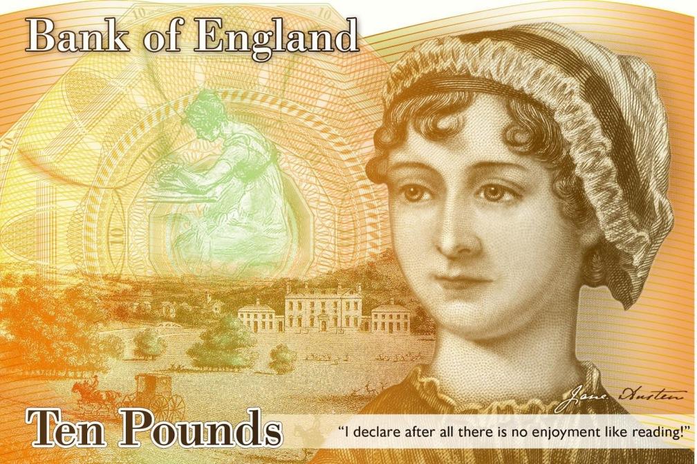 Jane Austen 10 libras esterlinas 10 escritores en billetes #culturaquemadura