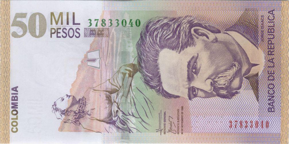 Jorge Isaacs 50,000 pesos colombianos 10 escritores en billetes #culturaquemadura