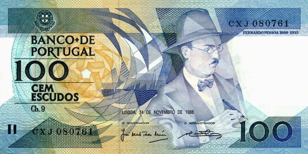 Fernando Pessoa 100 escudos 10 escritores en billetes #culturaquemadura