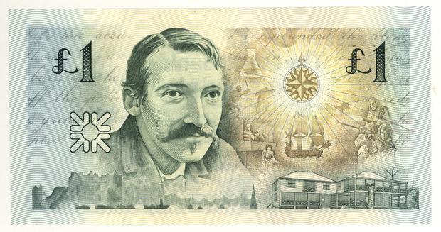 Robert Louis Stevenson 1 libra esterlina (Escocia) 10 escritores en billetes #culturaquemadura