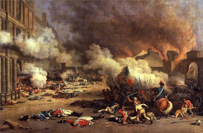 Asalto al palacio de Tullerías durante la Revolución Francesa, 10 de agosto de 1792, (Jean Duplessis-Bertaux, 1793)
