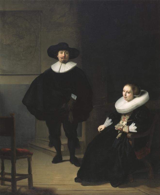 Dama y caballero de negro, Rembrandt, (1633)