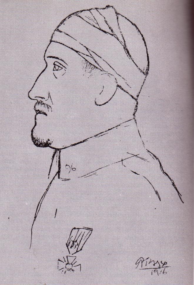 Boceto de retrato de Guillaume Apollinaire, Picasso (1918)